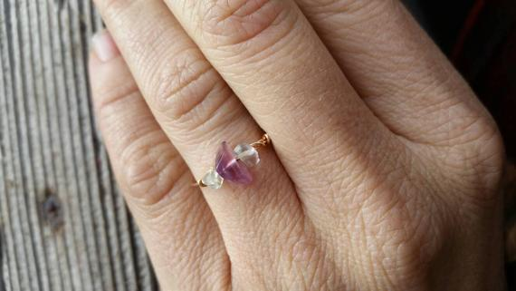 Flourite Crystal Ring- Made To Order, Custom Rings, Crystal Ring, Dainty Ring, Stackable Ring, Midi Ring, Bronze Ring, Sterling Silver