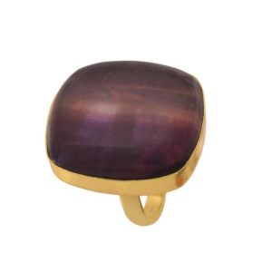 Shop Fluorite Rings! Size 8.5 – Size 10 Adjustable Fluorite 24K Gold Plated Ring GPR1158 | Natural genuine Fluorite rings, simple unique handcrafted gemstone rings. #rings #jewelry #shopping #gift #handmade #fashion #style #affiliate #ad
