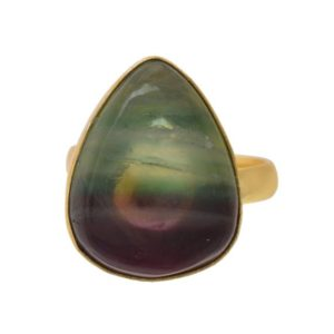 Shop Fluorite Rings! Size 9.5 – Size 11 Adjustable Fluorite 24K Gold Plated Ring GPR1165 | Natural genuine Fluorite rings, simple unique handcrafted gemstone rings. #rings #jewelry #shopping #gift #handmade #fashion #style #affiliate #ad