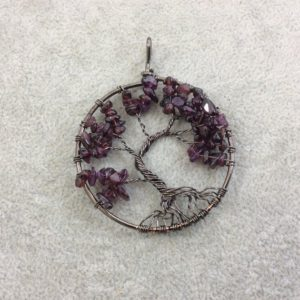 """Shop Garnet Chip & Nugget Beads! 2"""" (50mm) Gunmetal Plated Copper Wire Wrapped Tree Of Life Focal Pendant With Deep Red / brown Garnet Chip Beads – Sold Individually / random 