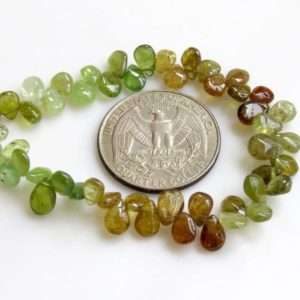 """Shop Garnet Bead Shapes! Natural Green Garnet Smooth Pear Beads, Green Grossular Garnet Beads, Green Garnet Beads, 5-6mm / 7mm Garnet Beads, Sold As 8"""" / 4"""", Gds1304 