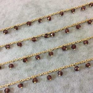 Shop Garnet Rondelle Beads! Gold Plated Copper Spaced Single Dangle Wrapped Chain with 3-4mm Natural Garnet Rondelle Dangles – Sold by 1 Foot Length! (SD017-GD) | Natural genuine rondelle Garnet beads for beading and jewelry making.  #jewelry #beads #beadedjewelry #diyjewelry #jewelrymaking #beadstore #beading #affiliate #ad