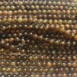 Shop Garnet Round Beads! Natural Green Garnet 6mm Round Gemstone Beads – 15.5 inches strand   Natural genuine round Garnet beads for beading and jewelry making.  #jewelry #beads #beadedjewelry #diyjewelry #jewelrymaking #beadstore #beading #affiliate #ad