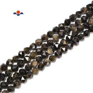 Shop Golden Obsidian Beads! Gold Sheen Obsidian Faceted Star Cut Beads Size 8mm 15.5'' Strand | Natural genuine faceted Golden Obsidian beads for beading and jewelry making.  #jewelry #beads #beadedjewelry #diyjewelry #jewelrymaking #beadstore #beading #affiliate #ad
