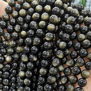 """Shop Golden Obsidian Beads! Natural Aaaaa Golden Obsidian Round Beads, 4mm 6mm 8mm 10mm 12mm 14mm 16mm Golden Obsidian Beads Wholesale Supply, one Strand 15"""" 