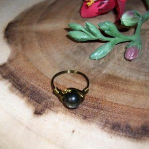 Shop Golden Obsidian Rings! Golden Sheen Obsidian 8mm Antique Bronze Color Wire Wrapped Ring Size 8 | Natural genuine Golden Obsidian rings, simple unique handcrafted gemstone rings. #rings #jewelry #shopping #gift #handmade #fashion #style #affiliate #ad