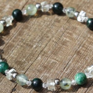 Shop Green Amethyst Bracelets! Let Go and Be Happy, Green Amethyst, Prehinite and Fuchsite Healing Stone Bracelet or Anklet with Positive Healing Energy! | Natural genuine Green Amethyst bracelets. Buy crystal jewelry, handmade handcrafted artisan jewelry for women.  Unique handmade gift ideas. #jewelry #beadedbracelets #beadedjewelry #gift #shopping #handmadejewelry #fashion #style #product #bracelets #affiliate #ad