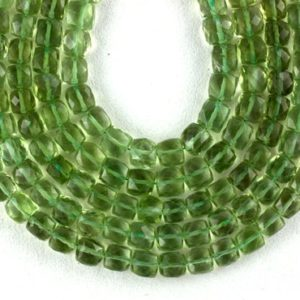 "Shop Green Amethyst Beads! 1 Strand Natural Green Amethyst Cube Shape Smooth Beads 6-7mm 7"" Long Amethyst beads,Green Color,Best Quality,Gemstone,Green Amethyst Beads 