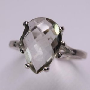 Shop Green Amethyst Rings! Prasiolite Ring, Genuine Gemstone, Green Amethyst, Green Quartz,  13x9mm Pear Shaped Checkboard Cut in 925 Sterling Silver Solitaire Ring | Natural genuine Green Amethyst rings, simple unique handcrafted gemstone rings. #rings #jewelry #shopping #gift #handmade #fashion #style #affiliate #ad