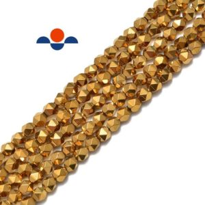 "Gold Plated Hematite Star Cut Nugget Beads 8mm 15.5"" Strand 
