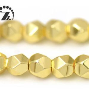 "Hematite Grade AA, Faceted Nugget,24K Gold color,Genuine Hematite Beads,Smooth electroplating beads,Diy beads,3mm,15"" full strand 