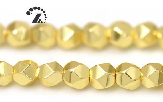 """Hematite Grade Aa, Faceted Nugget,24k Gold Color,genuine Hematite Beads,smooth Electroplating Beads,diy Beads,3mm,15"""" Full Strand"""