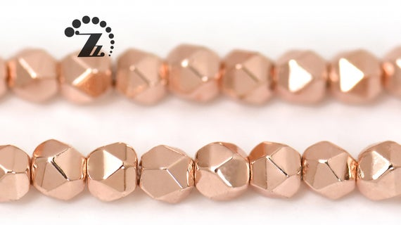 """Hematite Grade Aa, Faceted Nugget,rose Gold Color,genuine Hematite Beads,smooth Electroplating Beads,diy Beads,3mm,15"""" Full Strand"""