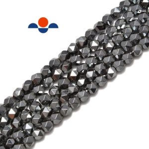 "Natural Gray Hematite Star Cut Nugget Beads 8mm 15.5"" Strand 