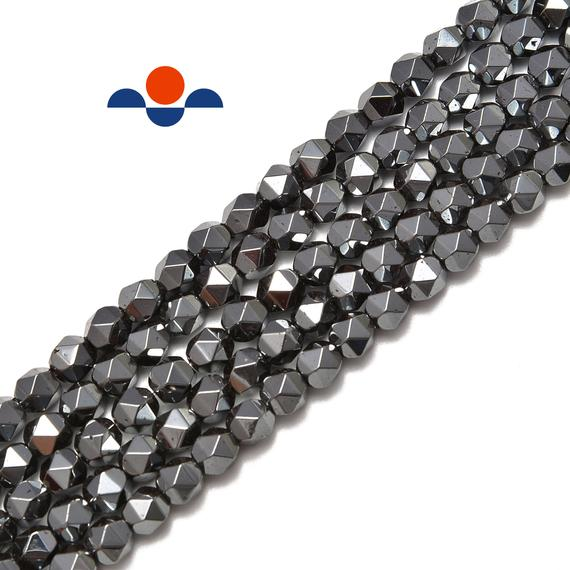 "Natural Gray Hematite Star Cut Nugget Beads 8mm 15.5"" Strand"