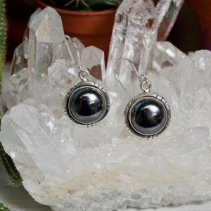 Shop Hematite Earrings! Simple Detailed Hematite Stone Earrings // Hematite Jewelry // Metaphysical Jewelry // Sterling Silver // Village Silversmith | Natural genuine Hematite earrings. Buy crystal jewelry, handmade handcrafted artisan jewelry for women.  Unique handmade gift ideas. #jewelry #beadedearrings #beadedjewelry #gift #shopping #handmadejewelry #fashion #style #product #earrings #affiliate #ad