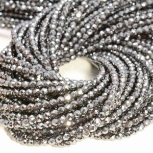 Shop Hematite Faceted Beads! 2mm Hematite Gemstone Black Grade AAA Micro Faceted Round Beads 15.5 inch Full Strand (80007437-A261) | Natural genuine faceted Hematite beads for beading and jewelry making.  #jewelry #beads #beadedjewelry #diyjewelry #jewelrymaking #beadstore #beading #affiliate #ad
