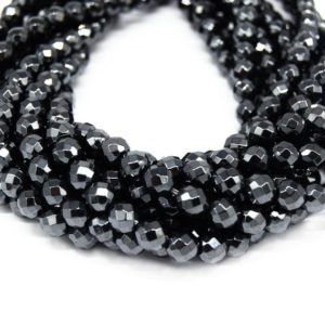 Shop Hematite Faceted Beads! Hematite Beads | Gunmetal Faceted Round Natural Gemstone Beads – 3mm 4mm 6mm 8mm 10mm 12mm Available | Natural genuine faceted Hematite beads for beading and jewelry making.  #jewelry #beads #beadedjewelry #diyjewelry #jewelrymaking #beadstore #beading #affiliate #ad