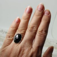 Medium Hematite Stone Ring Sterling Silver Bezel Oval Brilliant Cut Faceted Hematite Ring Woman Ring Statement Ring Natural Unisex Rings   Natural genuine Gemstone jewelry. Buy crystal jewelry, handmade handcrafted artisan jewelry for women.  Unique handmade gift ideas. #jewelry #beadedjewelry #beadedjewelry #gift #shopping #handmadejewelry #fashion #style #product #jewelry #affiliate #ad