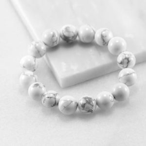Shop Howlite Jewelry! Howlite Bracelet/ Men Howlite Bracelet/ 12mm Bead Bracelet/ White Stone Bracelet/ Mens Beaded Bracelet | Natural genuine Howlite jewelry. Buy handcrafted artisan men's jewelry, gifts for men.  Unique handmade mens fashion accessories. #jewelry #beadedjewelry #beadedjewelry #shopping #gift #handmadejewelry #jewelry #affiliate #ad