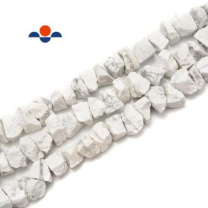 """Shop Howlite Chip & Nugget Beads! Howlite Rough Nugget Chunks Center Drill Beads Approx 6x17mm 15.5"""" Strand 