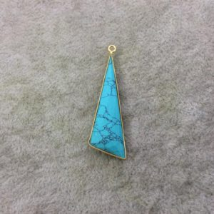 Shop Howlite Faceted Beads! Howlite Bezel | Gold Plated Faceted Dyed Triangle Sail Shaped Drop Charm Component – Measuring 16mm x 47mm – Sold Individually | Natural genuine faceted Howlite beads for beading and jewelry making.  #jewelry #beads #beadedjewelry #diyjewelry #jewelrymaking #beadstore #beading #affiliate #ad
