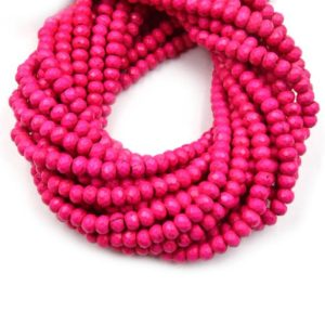 Shop Howlite Faceted Beads! Dyed Howlite Beads | 4mm x 6mm Pink Faceted Rondelle Shaped Beads | Natural genuine faceted Howlite beads for beading and jewelry making.  #jewelry #beads #beadedjewelry #diyjewelry #jewelrymaking #beadstore #beading #affiliate #ad