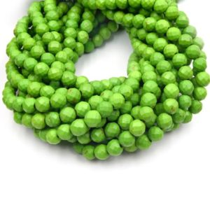 Shop Howlite Faceted Beads! Dyed Howlite Beads | 6mm Lime Green Faceted Round Shaped Howlite Beads | Natural genuine faceted Howlite beads for beading and jewelry making.  #jewelry #beads #beadedjewelry #diyjewelry #jewelrymaking #beadstore #beading #affiliate #ad