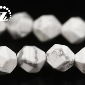 """Shop Howlite Faceted Beads! Howlite Matte Faceted Star Cut Diamond Bead,Frosted Bead,Diamond cut bead,natural,gemstone,White Howlite,6mm 8mm 10mm,15"""" full strand 