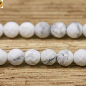 """Shop Howlite Faceted Beads! White Howlite matte faceted (64 faces) round beads,Howlite,Natural,frosted beads,gemstone,diy,6mm 8mm 10mm 12mm for choice,15"""" full strand 