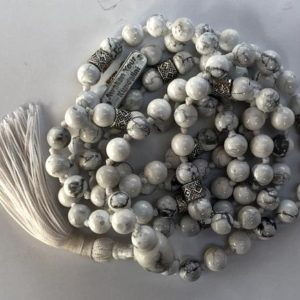 Calming White Howlite Knotted Mala Beads Necklace – Balances Calcium, Relieves Stress, Insomnia, Absorbs Anger, Statement minimalist marble | Natural genuine Gemstone necklaces. Buy crystal jewelry, handmade handcrafted artisan jewelry for women.  Unique handmade gift ideas. #jewelry #beadednecklaces #beadedjewelry #gift #shopping #handmadejewelry #fashion #style #product #necklaces #affiliate #ad