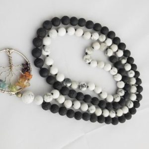 Shop Howlite Necklaces! Lava Howlite Tree of life Mala Bead Necklace   Natural genuine Howlite necklaces. Buy crystal jewelry, handmade handcrafted artisan jewelry for women.  Unique handmade gift ideas. #jewelry #beadednecklaces #beadedjewelry #gift #shopping #handmadejewelry #fashion #style #product #necklaces #affiliate #ad