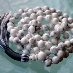 Howlite Mala Necklace, 108 Mala Beads, White Mala Necklace, Howlite Necklace, Knotted Mala, Howlite Jewelry, White Necklace Summer Jewelry | Natural genuine Gemstone necklaces. Buy crystal jewelry, handmade handcrafted artisan jewelry for women.  Unique handmade gift ideas. #jewelry #beadednecklaces #beadedjewelry #gift #shopping #handmadejewelry #fashion #style #product #necklaces #affiliate #ad
