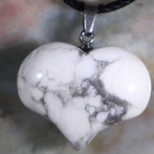 Shop Howlite Necklaces! Howlite Puffy Heart Healing Stone Necklace With Positive Healing Energy! | Natural genuine Howlite necklaces. Buy crystal jewelry, handmade handcrafted artisan jewelry for women.  Unique handmade gift ideas. #jewelry #beadednecklaces #beadedjewelry #gift #shopping #handmadejewelry #fashion #style #product #necklaces #affiliate #ad