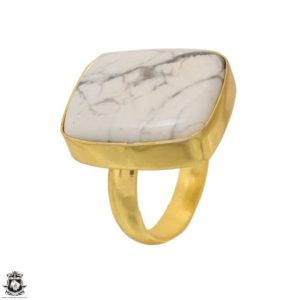 Shop Howlite Rings! Size 8.5 – Size 10 Adjustable Howlite 24k Gold Plated Ring Gpr1645 | Natural genuine Howlite rings, simple unique handcrafted gemstone rings. #rings #jewelry #shopping #gift #handmade #fashion #style #affiliate #ad