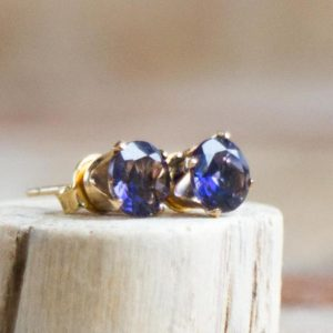 Shop Iolite Earrings! Iolite Gemstone Stud Earrings, Iolite Earrings Studs, Gift for Women, Water Sapphire Jewelry, 14K Gold Filled, Sterling Silver Post Earrings | Natural genuine Iolite earrings. Buy crystal jewelry, handmade handcrafted artisan jewelry for women.  Unique handmade gift ideas. #jewelry #beadedearrings #beadedjewelry #gift #shopping #handmadejewelry #fashion #style #product #earrings #affiliate #ad