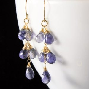 Shop Iolite Earrings! Iolite Gold Filled Earrings Wire Wrapped Natural Violet Blue Gemstone Cluster Boho Chic Statement Drops September Birthstone Gift Her 3257 | Natural genuine Iolite earrings. Buy crystal jewelry, handmade handcrafted artisan jewelry for women.  Unique handmade gift ideas. #jewelry #beadedearrings #beadedjewelry #gift #shopping #handmadejewelry #fashion #style #product #earrings #affiliate #ad