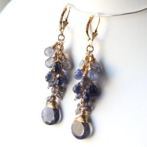 Shop Iolite Earrings! Iolite Gold Filled Earrings wire wrapped violet blue natural gemstone cluster long bohemian dangle drops mothers day gift for women 6047 | Natural genuine Iolite earrings. Buy crystal jewelry, handmade handcrafted artisan jewelry for women.  Unique handmade gift ideas. #jewelry #beadedearrings #beadedjewelry #gift #shopping #handmadejewelry #fashion #style #product #earrings #affiliate #ad