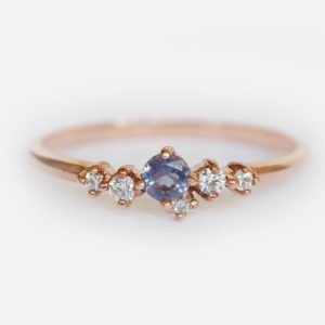 Shop Iolite Rings! Iolite Diamond Ring, Unique Ring, Dainty Iolite Ring, Sapphire Ring, Iolite Ring, 14k Gold Iolite Ring, Rose Gold Ring, Cluster Ring, Iolite | Natural genuine Iolite rings, simple unique handcrafted gemstone rings. #rings #jewelry #shopping #gift #handmade #fashion #style #affiliate #ad