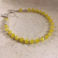 Yellow Bracelet – Jade Gemstone Jewelry – Sterling Silver Jewellery – Clover Charm | Natural genuine Gemstone jewelry. Buy crystal jewelry, handmade handcrafted artisan jewelry for women.  Unique handmade gift ideas. #jewelry #beadedjewelry #beadedjewelry #gift #shopping #handmadejewelry #fashion #style #product #jewelry #affiliate #ad