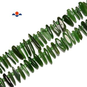 Shop Jade Chip & Nugget Beads! Canadian Nephrite Jade Slice Pebble Nugget Points Beads Size 10-20mm 15.5'' Str | Natural genuine chip Jade beads for beading and jewelry making.  #jewelry #beads #beadedjewelry #diyjewelry #jewelrymaking #beadstore #beading #affiliate #ad