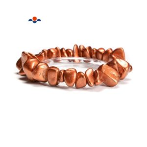 Shop Jade Chip & Nugget Beads! Coffee Jade Pebble Nugget Shape Elastic Bracelet Size 7-17mm 7.5'' Length | Natural genuine chip Jade beads for beading and jewelry making.  #jewelry #beads #beadedjewelry #diyjewelry #jewelrymaking #beadstore #beading #affiliate #ad