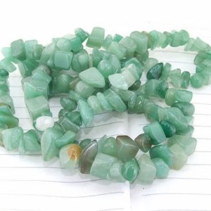 """Shop Jade Chip & Nugget Beads! Long strand Nugget Green Jade Beads —– 7mmx8mm —– about 180Pieces —– gemstone beads— 32"""" in length 