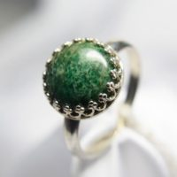 Jade Ring,  African Genuine Gemstone 12mm Round Cabochon, Set In 925 Sterling Silver Crown Ring | Natural genuine Gemstone jewelry. Buy crystal jewelry, handmade handcrafted artisan jewelry for women.  Unique handmade gift ideas. #jewelry #beadedjewelry #beadedjewelry #gift #shopping #handmadejewelry #fashion #style #product #jewelry #affiliate #ad