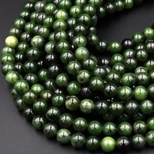 "Shop Jade Round Beads! Natural Canadian Green Jade 6mm 8mm 10mm Round Beads 15.5"" Strand 