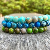 Impression Jasper Bracelet 8mm Dyed Blue Teal And Green Impression Jasper Beaded Gemstone Bracelet Jasper Stack Bracelet Gift Bracelet | Natural genuine Gemstone jewelry. Buy crystal jewelry, handmade handcrafted artisan jewelry for women.  Unique handmade gift ideas. #jewelry #beadedjewelry #beadedjewelry #gift #shopping #handmadejewelry #fashion #style #product #jewelry #affiliate #ad