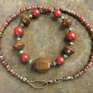 Shop Jasper Necklaces! Rustic Jasper Necklace, chunky jasper and seed bead statement jewelry in tan, red-orange, turquoise green | Natural genuine Jasper necklaces. Buy crystal jewelry, handmade handcrafted artisan jewelry for women.  Unique handmade gift ideas. #jewelry #beadednecklaces #beadedjewelry #gift #shopping #handmadejewelry #fashion #style #product #necklaces #affiliate #ad