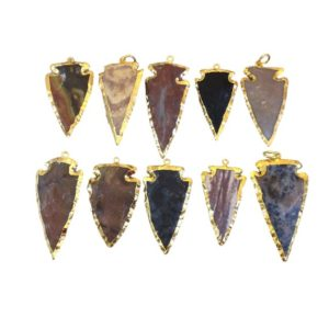 "1.5-2"" Gold Finish Arrowhead Shaped Electroplated Mixed Jasper Pendant – Measuring 40mm-50mm Long – Sold Individually, Randomly Chosen 