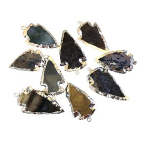 """Shop Jasper Pendants! 1-1.5"""" Silver Finish Arrowhead Shaped Electroplated Mixed Jasper Pendant – Measuring 30mm-40mm Long – Sold Individually, Randomly Chosen 