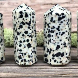 Shop Jasper Stones & Crystals! Dalmatian Jasper Tower Point | Natural genuine stones & crystals in various shapes & sizes. Buy raw cut, tumbled, or polished gemstones for making jewelry or crystal healing energy vibration raising reiki stones. #crystals #gemstones #crystalhealing #crystalsandgemstones #energyhealing #affiliate #ad